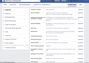 Einstellungen für Eure Facebook-Seite