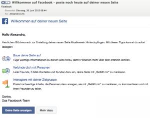 Willkommensgruß von Facebook