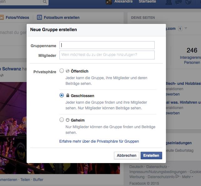 Facebook für Musikvereine - Facebook-Gruppe erstellen