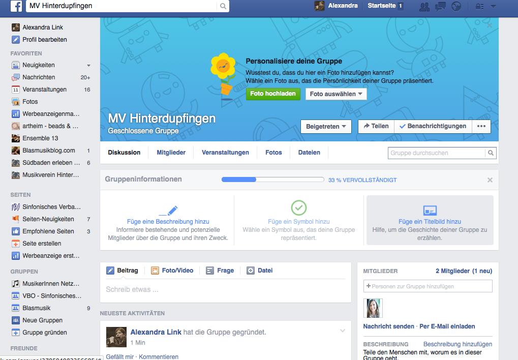 Facebook für Musikvereine - Gruppeninformationen ergänzen