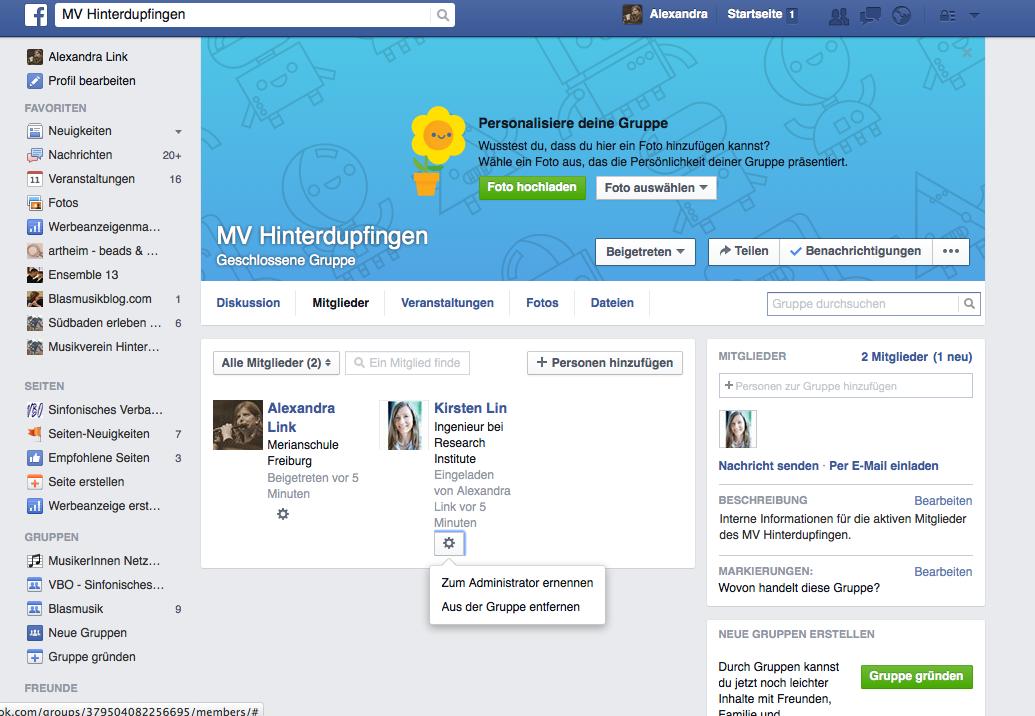 Facebook für Musikvereine - Mitglieder hinzufügen