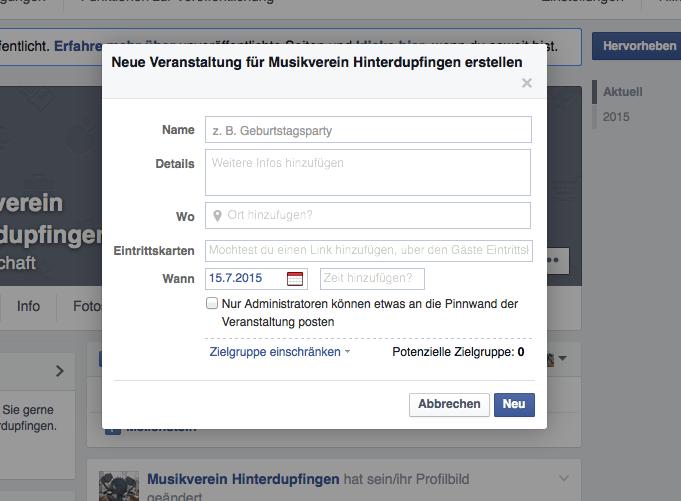 Facebook Musikvereine Veranstalung