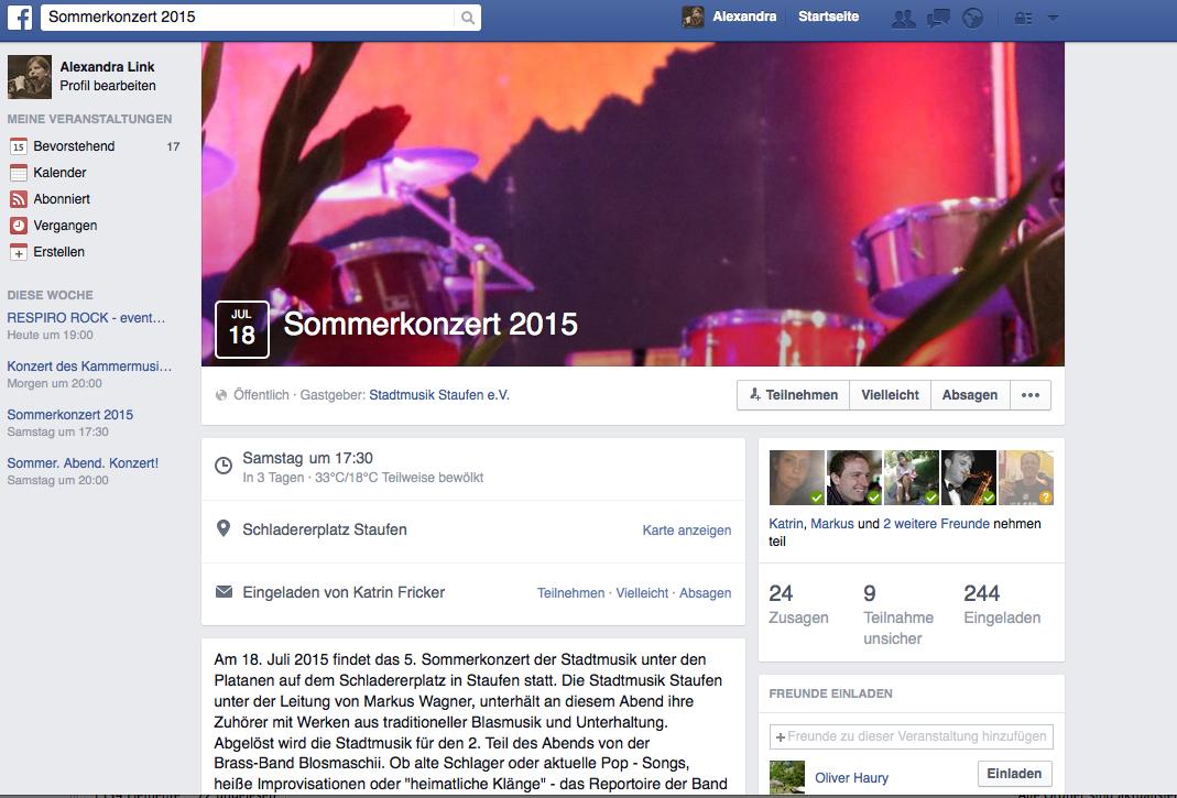 Facebook für Musikvereine – Teil 4 Eine Veranstaltung erstellen und bewerben