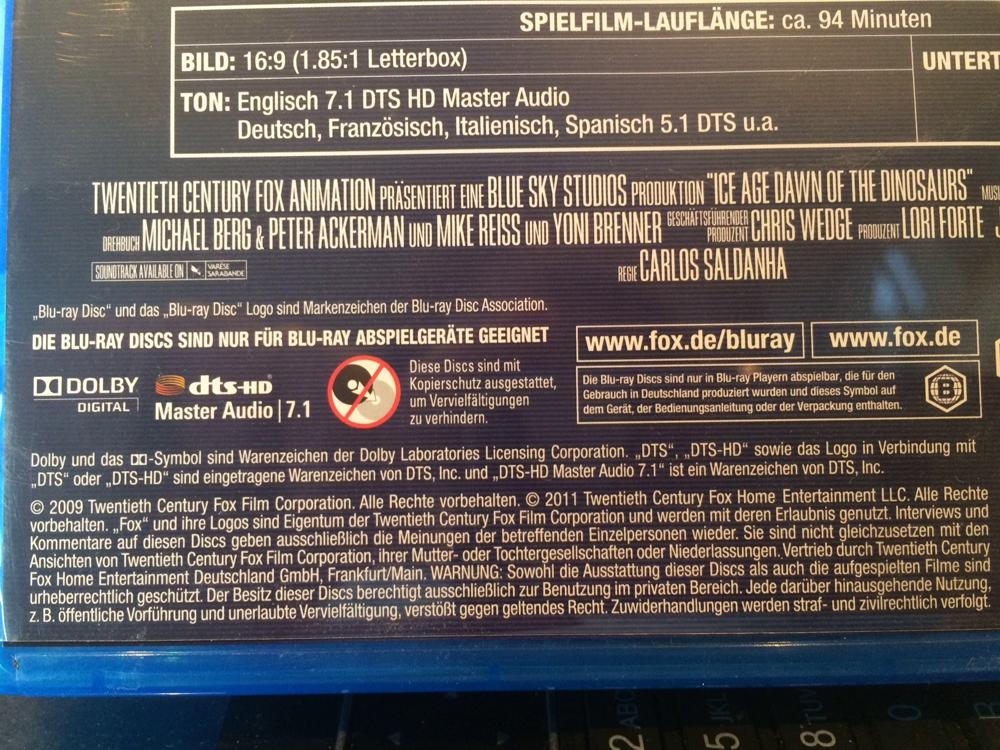 Rechtshinweis Blu-ray