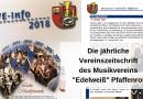 """Die jährliche Vereinszeitschrift des Musikvereins """"Edelweiß"""" Pfaffenrot"""