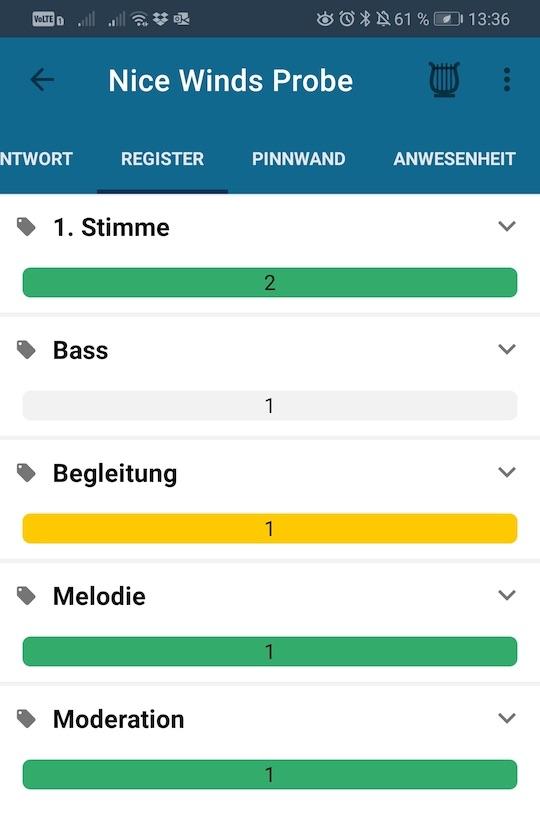 Konzertmeister Kategorisierte Anwesenheitsansicht