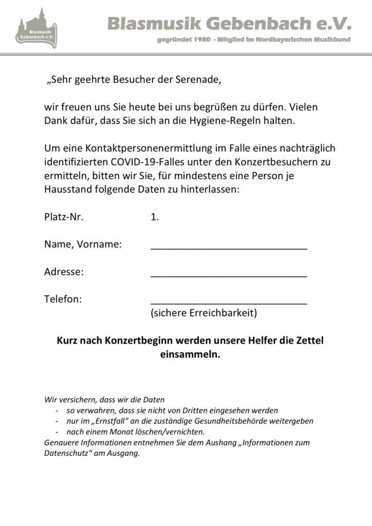 Serenadenkonzert Musikverein Gebenbach - Zettel für die Stühle