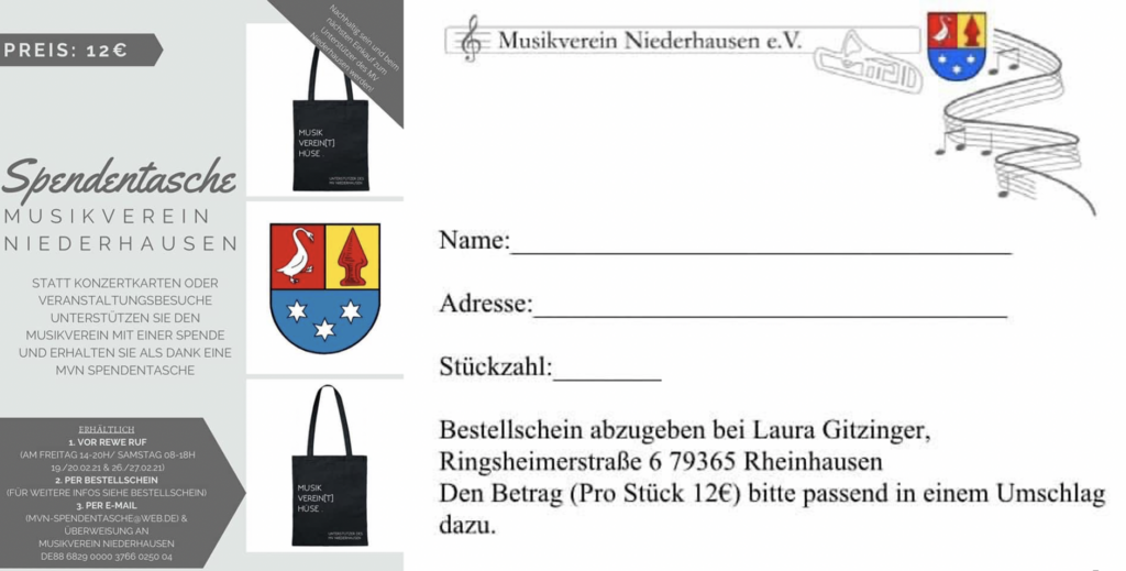Spendentasche Musikverein Niederhausen