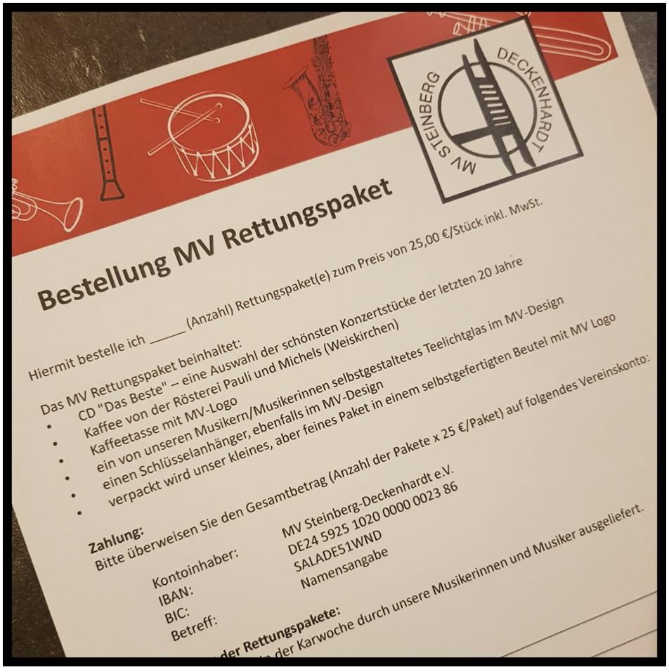 Rettungspaket Musikverein Steinberg Deckenhardt