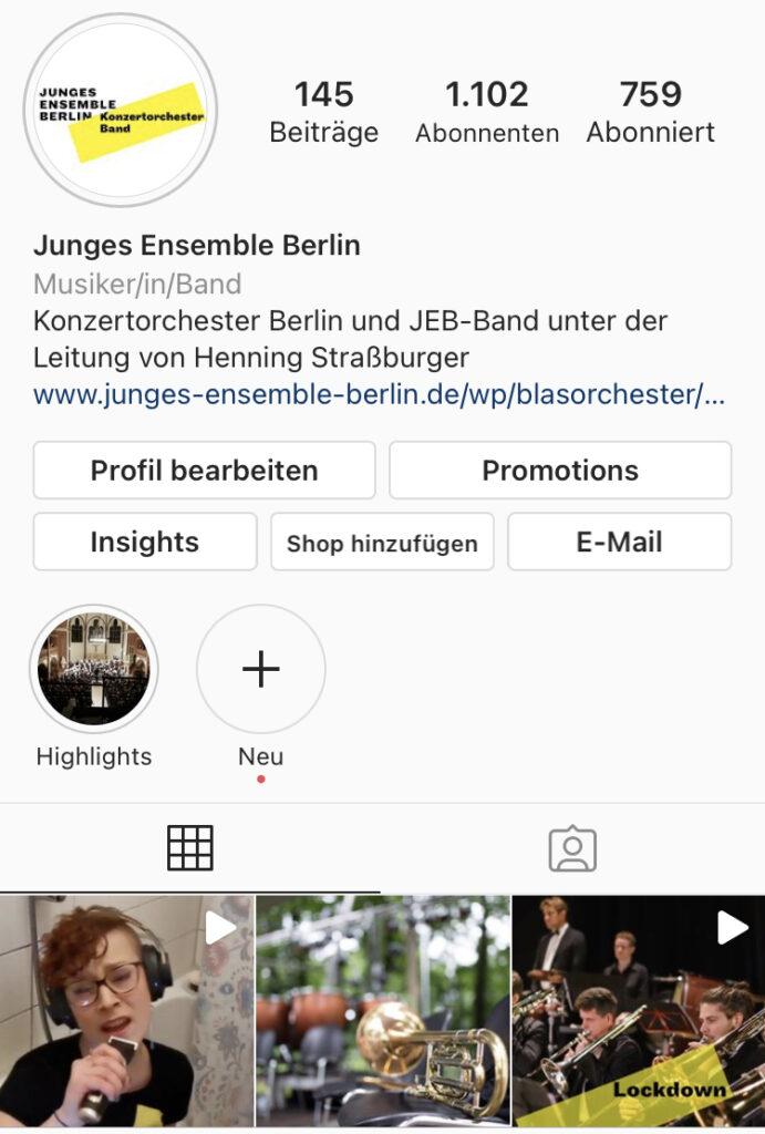 Instragram JEB Junges Ensemble Berlin